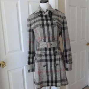Burberry Wool Plaid House Check Trench Coat